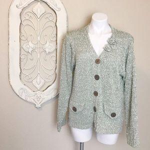 Pistachio | Vintage Green Knit Button Cardigan L